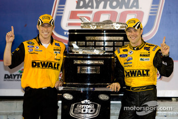Victory lane: race winner Matt Kenseth, Roush Fenway Racing Ford, with crew chief Drew Blickensder