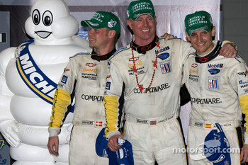 Michelin Green X Challenge podium: GT winners Jan Magnussen, Johnny O'Connell and Antonio Garcia