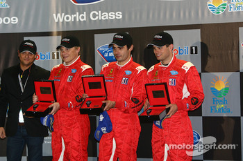 Class winners podium: GT2 winners Mika Salo, Jaime Melo and Pierre Kaffer