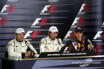 Post-qualifying press conference: pole winner Jenson Button, Brawn GP, second place Rubens Barrichello, third place Sebastian Vettel, Red Bull Racing