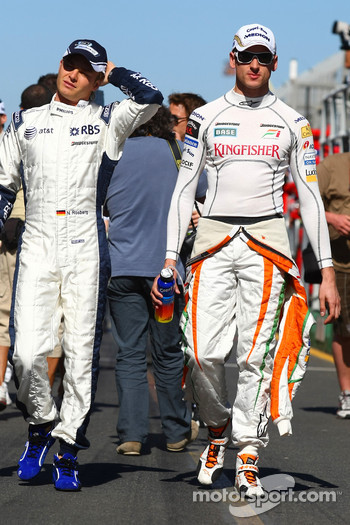 Adrian Sutil, Force India F1 Team and Nico Rosberg, Williams F1 Team
