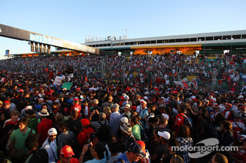 Fans in the pitlane after the race