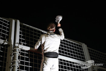 Rubens Barrichello, Brawn GP celebrates his podium