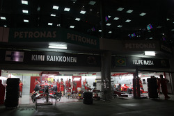 The Ferrari garage at night