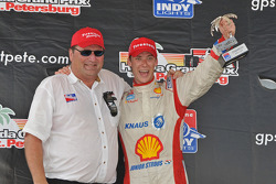 Podium: race winner Junior Strous with owner Paul Dialovitch