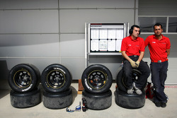 Tyre technicians in the pits