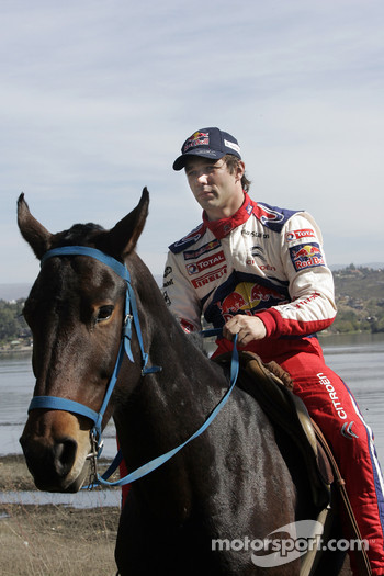 Sbastien Loeb rides a horse