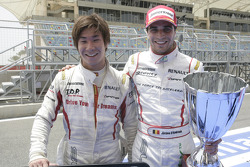 Kamui Kobayashi and Jerome D'Ambrosio celebrate gaining first and second positions in the 2009 GP2 Asia championship