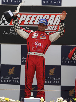 Race winner Vitantonio Liuzzi UP Team celebrates on the podium