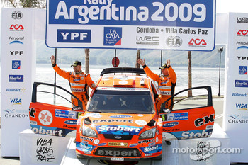 Podium: third place Henning Solberg and Cato Menkerud, Ford Focus RS WRC 08, Stobart VK M-Sport Ford Rally Team