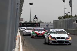 Jorg Muller,  BMW Team Germany, BMW 320si, Mehdi Bennani, Exagon Engineering, Seat Leon 2.0 and Andy Priaulx, BMW Team UK, BMW 320si