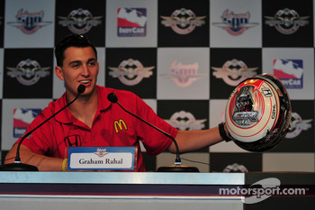 Graham Rahal during the unveiling of his new helmet
