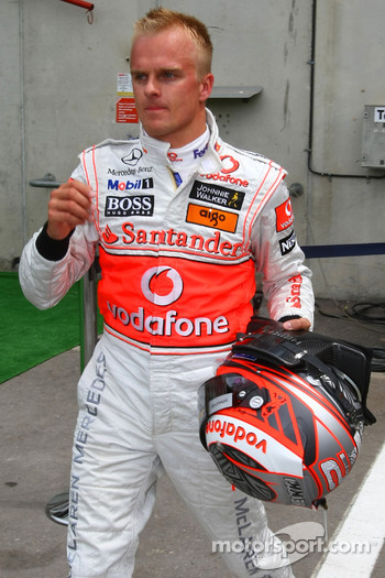 Heikki Kovalainen, McLaren Mercedes after being out in Q1