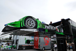 #9 Patron Highcroft Racing Acura ARX-02a Acura is loaded on a transporter