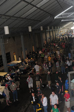 Fan gather under the main grandstands