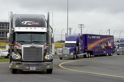 Haulers arrive at the track
