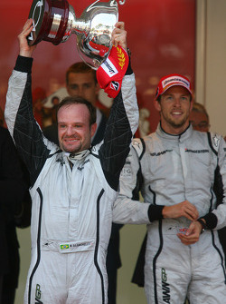 2nd place Rubens Barrichello, Brawn GP and 1st place Jenson Button, Brawn GP