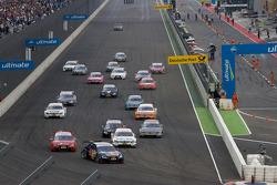 Start: Mattias Ekström, Audi Sport Team Abt Audi A4 DTM leads the field