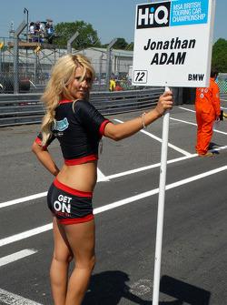 Jonny Adam's grid girl