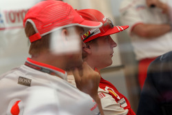 A meeting of Team Principles and drivers is held in the Toyota motorhome, Heikki Kovalainen, McLaren Mercedes, Kimi Raikkonen, Scuderia Ferrari