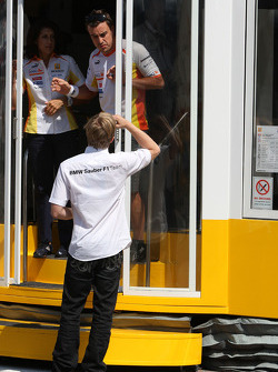 A big meeting of all Team Principles and all F1 drivers is held in the Toyota motorhome: Fernando Alonso, Renault F1 Team and Nick Heidfeld, BMW Sauber F1 Team