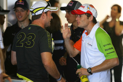 Rubens Barrichello, Brawn GP and Giancarlo Fisichella, Force India F1 Team