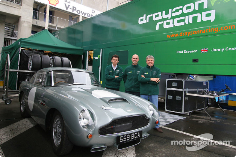 Paul Drayson, Jonny Cocker and Marino Franchitti with the 1959 Aston Martin DB4 GT
