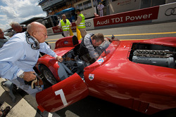 Stirling Moss races an Osca in the historical cars race