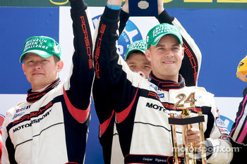 LMP2 podium: class winners Kristian Poulsen, Casper Elgaard and Emmanuel Collard