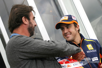 Eric Cantona, former french football player and Fernando Alonso, Renault F1 Team