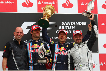 Podium: race winner Sebastian Vettel, Red Bull Racing, second place Mark Webber, Red Bull Racing, third place Rubens Barrichello, Brawn GP, Adrian Newey, Red Bull Racing, Technical Operations Director