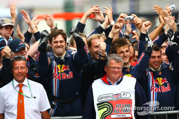 Red Bull Racing mechanics celebrate