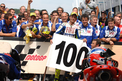 Race winner Valentino Rossi, Fiat Yamaha Team celebrates 100th MotoGP win