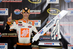 Victory lane: race winner Joey Logano, Joe Gibbs Racing Toyota