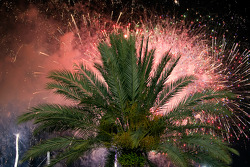 A grand fireworks display is presented after the race