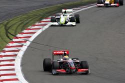Lewis Hamilton, McLaren Mercedes leads Jenson Button, Brawn GP