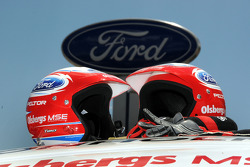 The helmets of co-driver Timo Alanne' and driver Marcus Gronholm await action