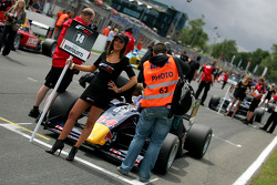 Formula Two grid girl for Mirko Bortolotti