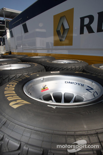 Bridgestone wet tires in front of the Renault truck