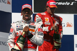 Podium: race winner Lewis Hamilton, McLaren Mercedes, second place Kimi Raikkonen