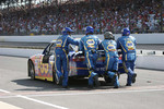 Michael Waltrip's crew, Michael Waltrip Racing Toyota, push him to the Gasoline Alley