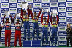 Podium: winners Mikko Hirvonen and Jarmo Lehtinen, second place Sébastien Loeb and Daniel Elena, third place Jari-Matti Latvala and Miikka Anttila