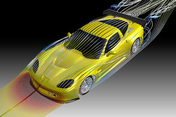 The streamlines in this CFD (computational fluid dynamics) study illustrate the airflow around the body of the GT2 version of the Corvette C6.R
