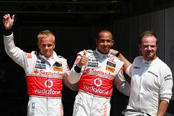 Pole winner Lewis Hamilton, McLaren Mercedes, second place Heikki Kovalainen, McLaren Mercedes, third place Rubens Barrichello, Brawn GP