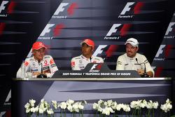 FIA press conference: pole winner Lewis Hamilton, McLaren Mercedes, second place Heikki Kovalainen, McLaren Mercedes, third place Rubens Barrichello, Brawn GP