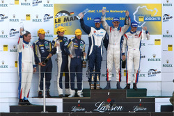 LMGT1 podium: class winners Roland Berville, Sébastien Dumez and Laurent Groppi, second place Julien Jousse, Patrice Goueslard, Yann Clairay