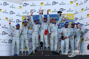 LMP1 podium: class and overall winners Jan Charouz, Tomas Enge and Stefan Mücke, second place Harold Primat and Darren Turner, third place Miguel Ramos, Stuart Hall and Chris Buncombe