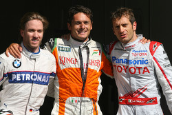 Giancarlo Fisichella, Force India F1 Team, Nick Heidfeld, BMW Sauber F1 Team and Jarno Trulli, Toyota F1 Team