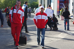 Timo Glock, Toyota F1 Team arrives at the trackside