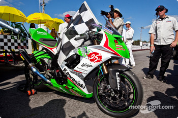Jordan Szoke claimed his 6th career national title and his 4th in a row, his bike sits on pit road